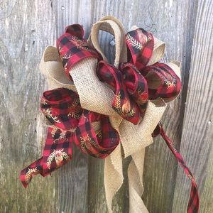 Handmade holiday Christmas bow buffalo plaid deer